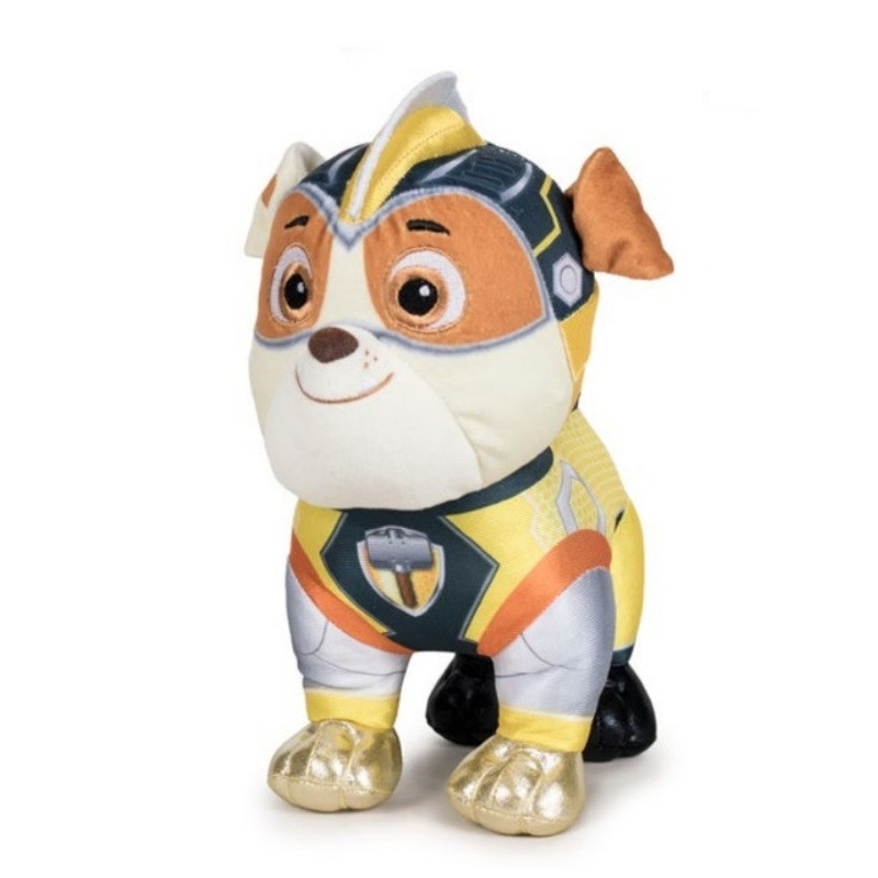 Pluche Paw Patrol Rubble Mighty Pups Super Paws knuffel 19 cm