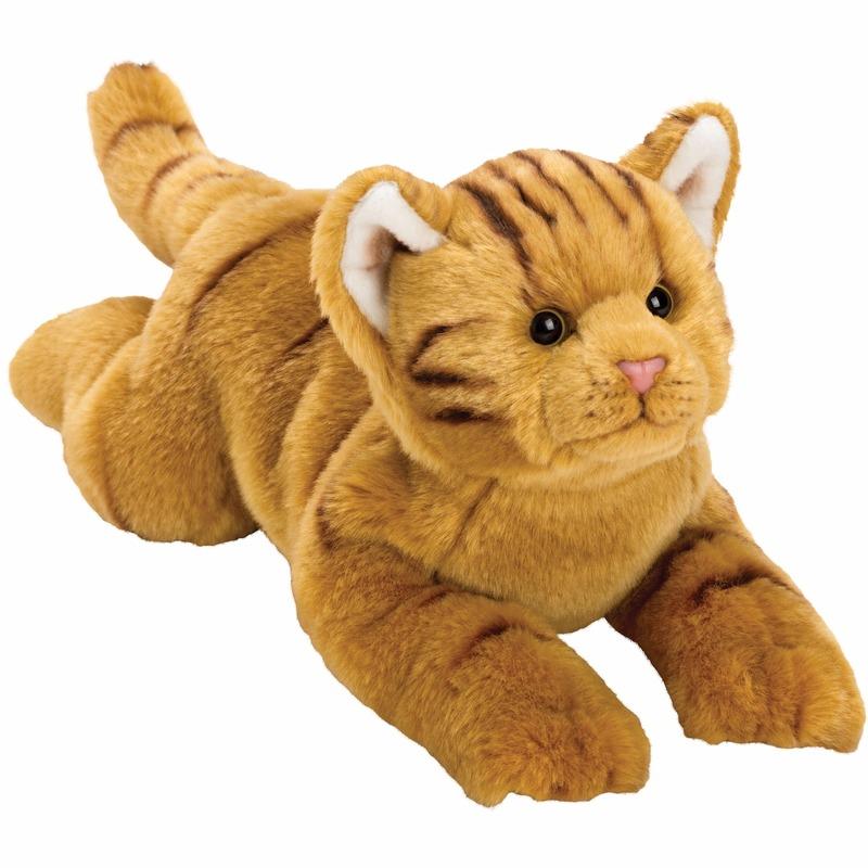 Pluche rode poes/kat knuffel liggend 33 cm