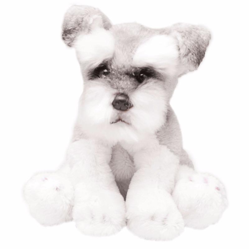 Pluche Schnauzer wit/grijs knuffel hond 13 cm