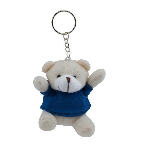 Pluche sleutelhanger teddybeer blauw 8 cm