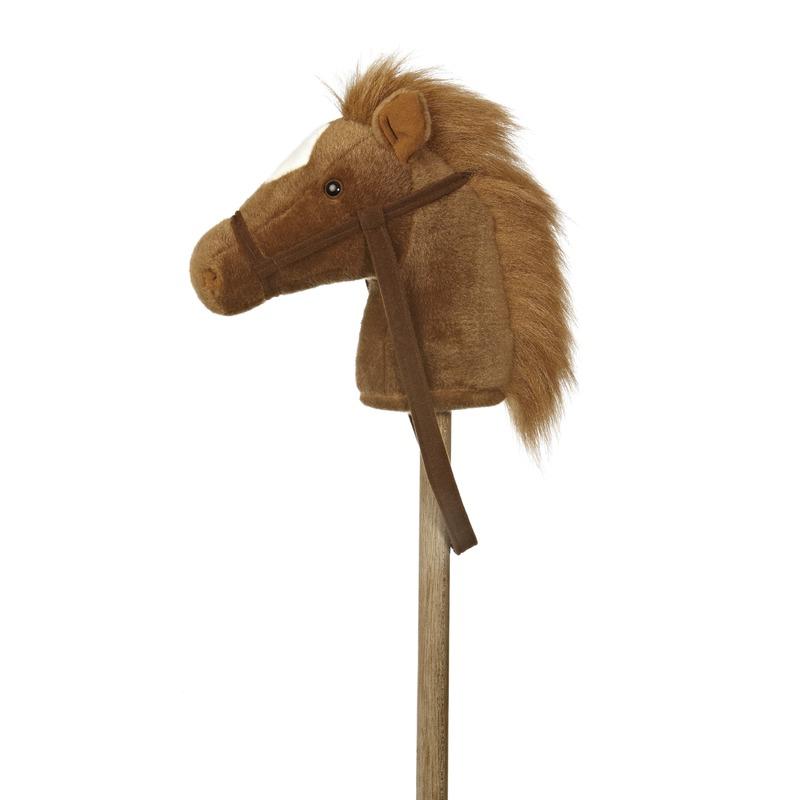Pluche stokpaardje bruine pony met geluid 94 cm
