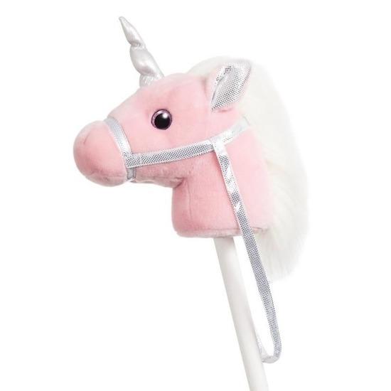 Pluche stokpaardje roze eenhoorn met geluid 94 cm
