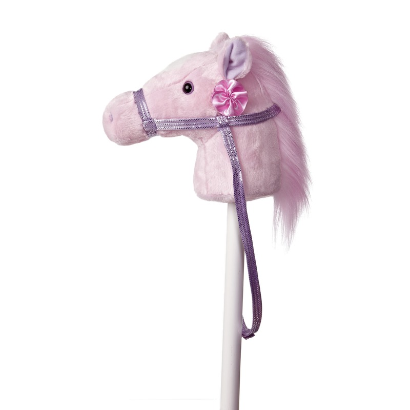 Pluche stokpaardje roze pony met geluid 94 cm