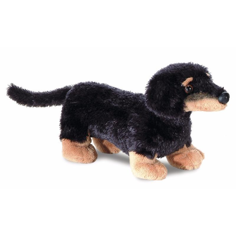 Pluche teckel honden knuffel 20 cm