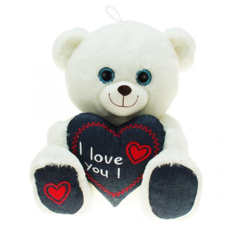Pluche witte beer/beren knuffel i love you 30 cm speelgoed