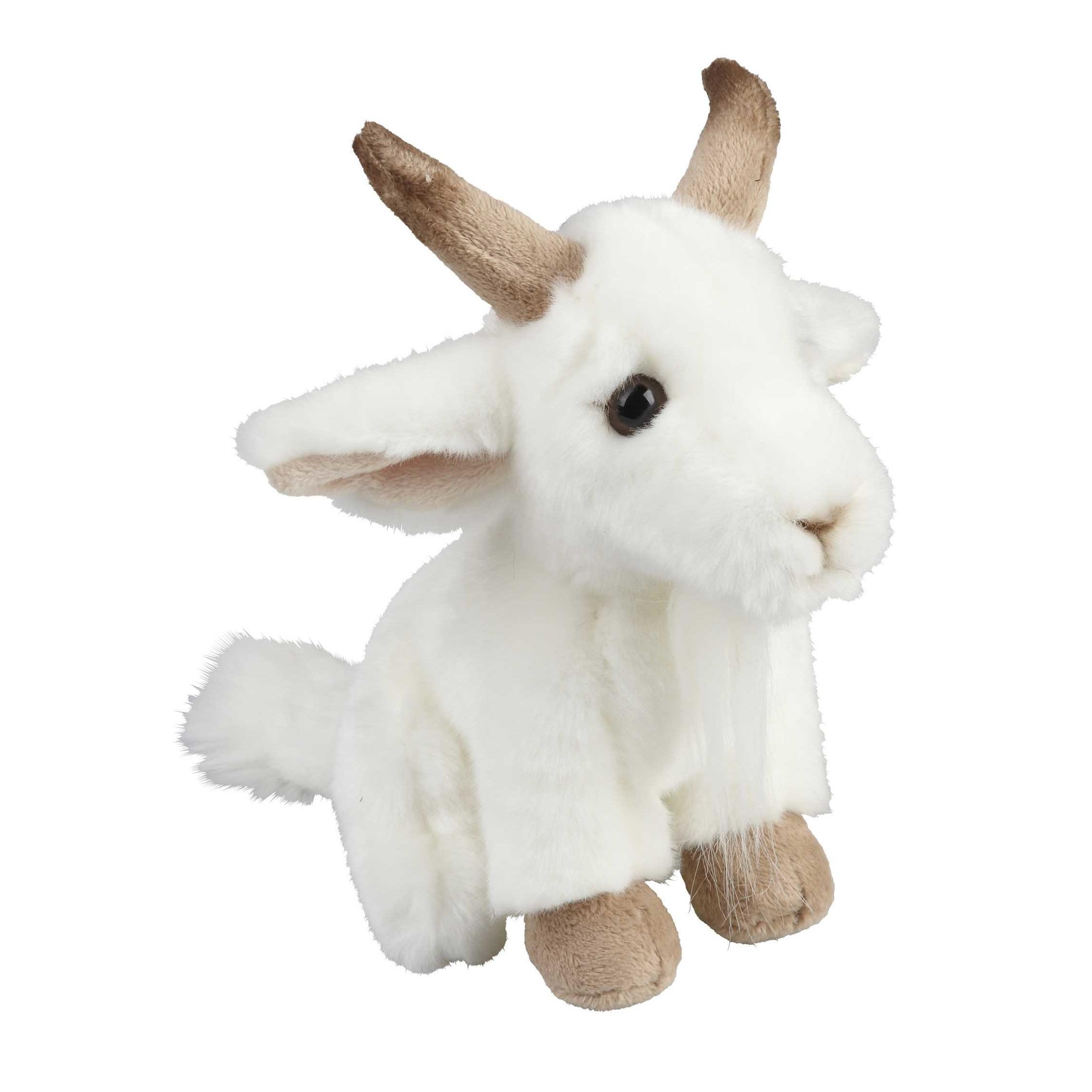Pluche witte geit knuffel 18 cm speelgoed