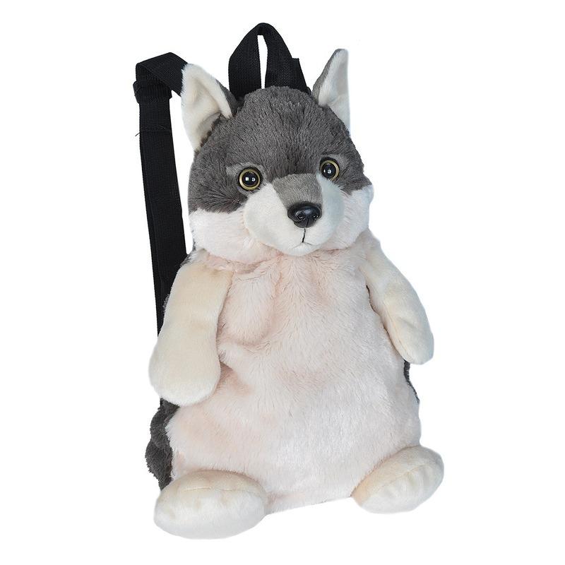 Pluche wolf rugzak/rugtas knuffel 33 cm