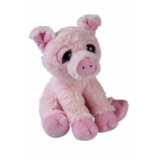 Pluche zittende varken knuffeldier 23cm