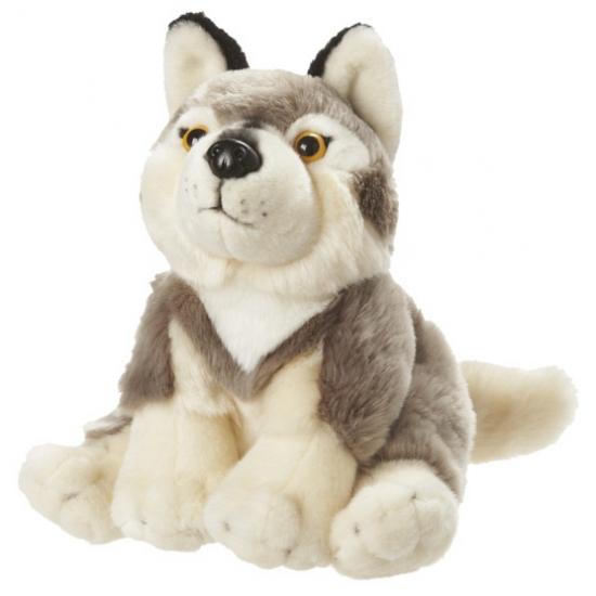 Pluche zittende wolf 18 cm