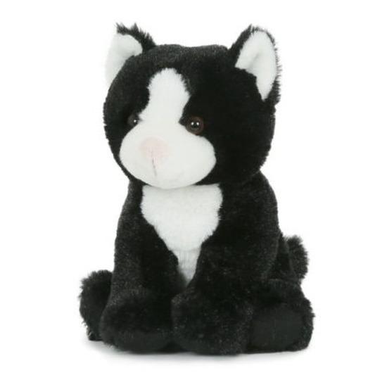 Pluche zwart/witte poes/kat knuffel zittend 18 cm speelgoed