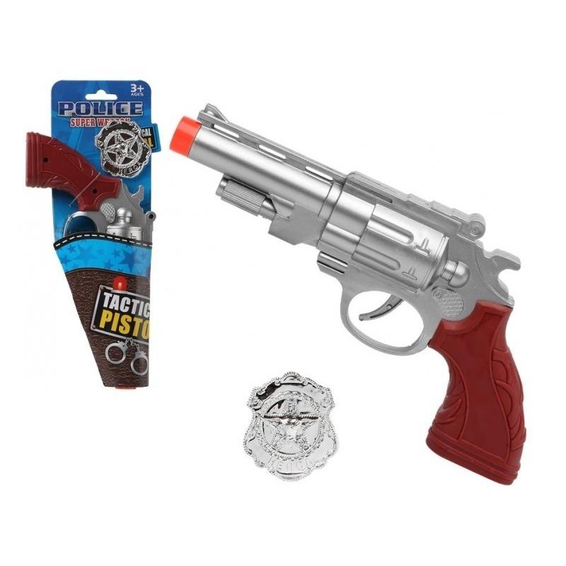 Politie speelgoed pistool zilver 27 cm