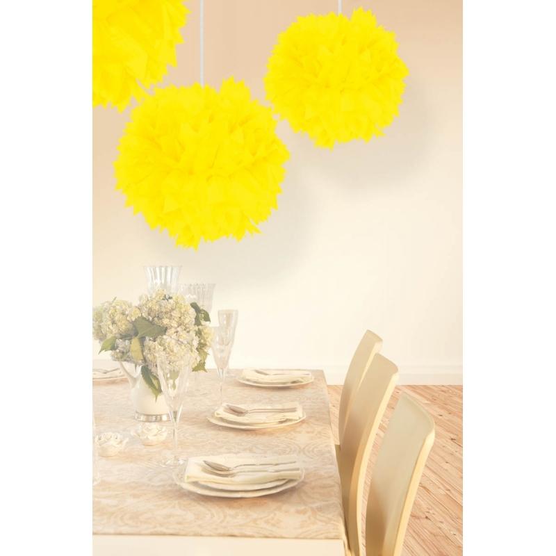 Pompom bolletjes neon geel
