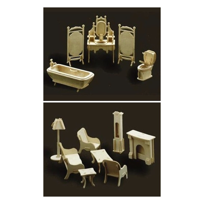 Poppenhuis meubels/meubeltjes huiskamer en badkamer