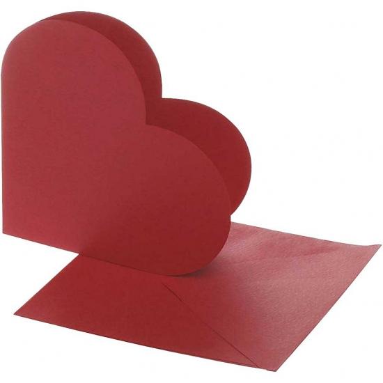 Rode hartjes uitnodigingen blanco 10x