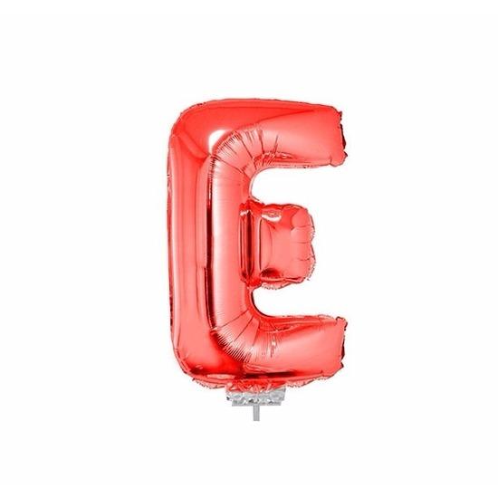 Rode letter ballonballon E op stokje 41 cm
