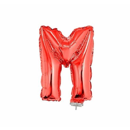 Rode letter ballonballon M op stokje 41 cm