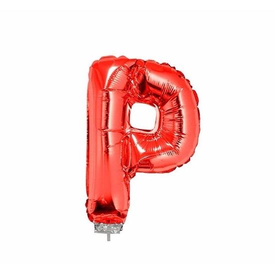 Rode letter ballonballon P op stokje 41 cm