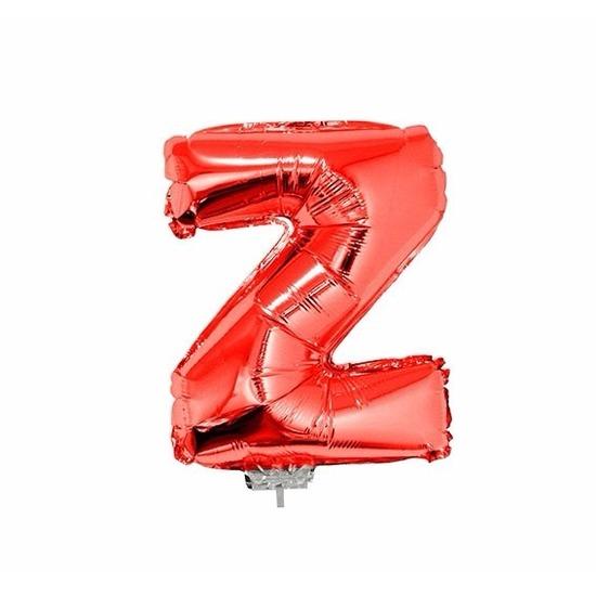 Rode letterballon Z op stokje 41 cm