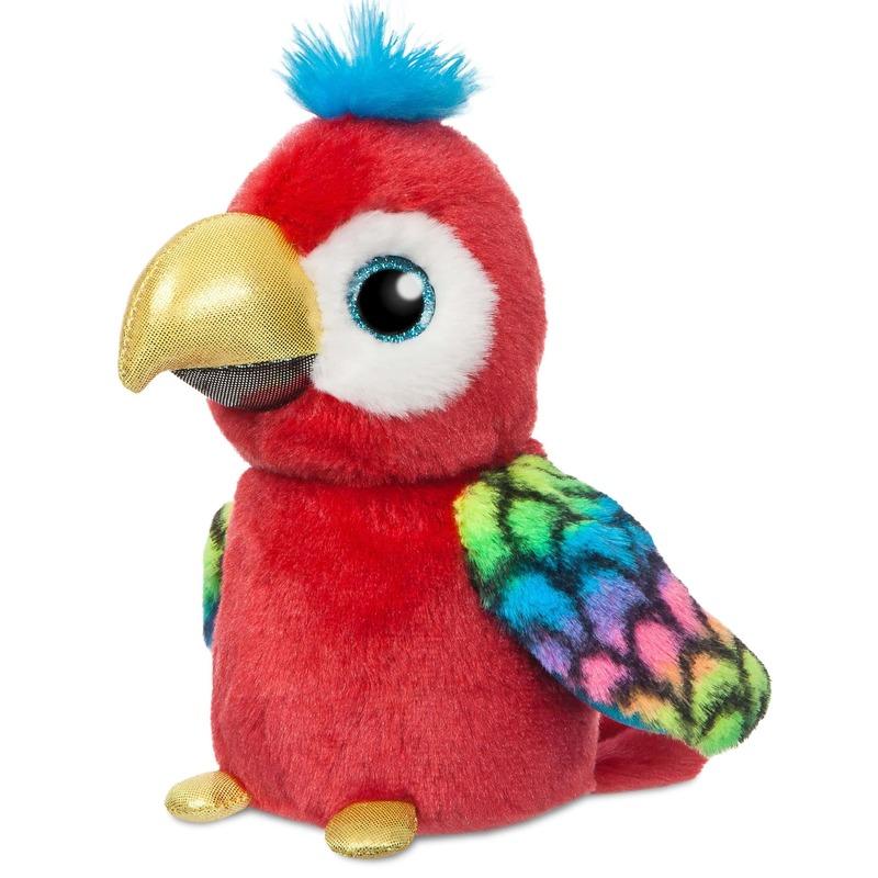 Rode papegaaien speelgoed artikelen papegaai knuffelbeest 18 cm