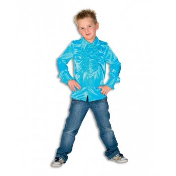 Rouche blouse jongens turquoise blauw