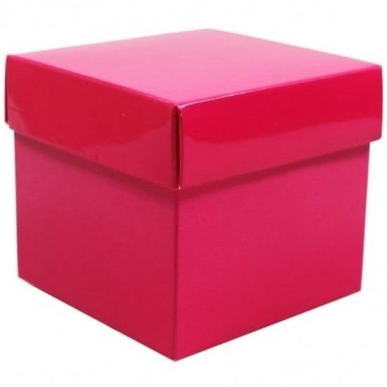 Roze cadeaudoosje 10 cm vierkant