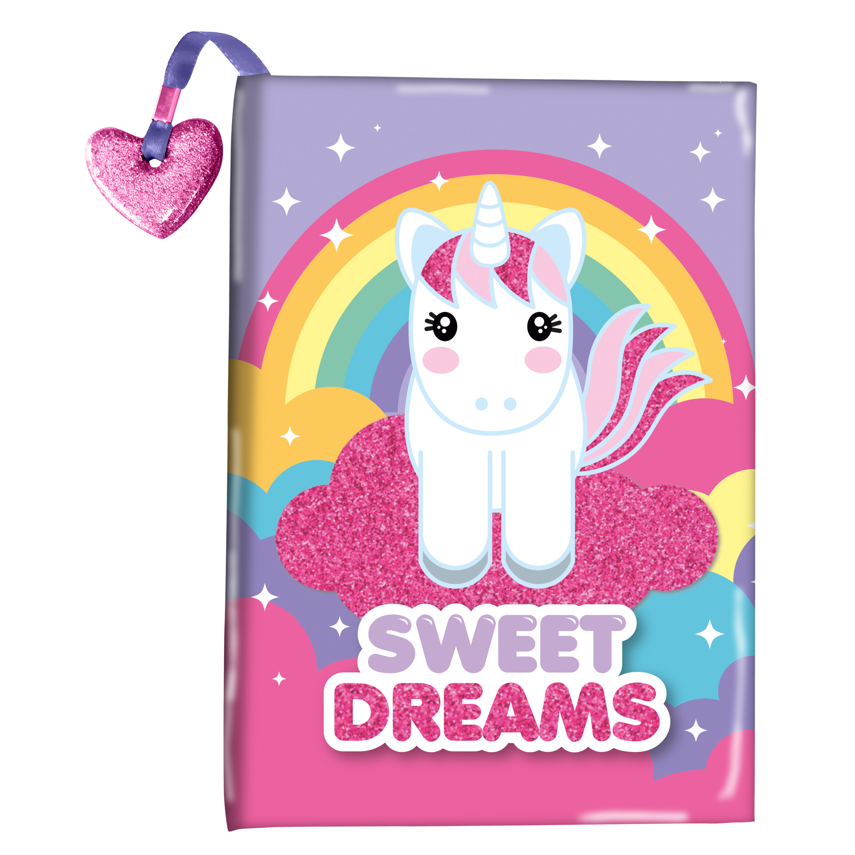 Roze/paars dagboek Sweet Dreams unicorn/eenhoorn met glitter