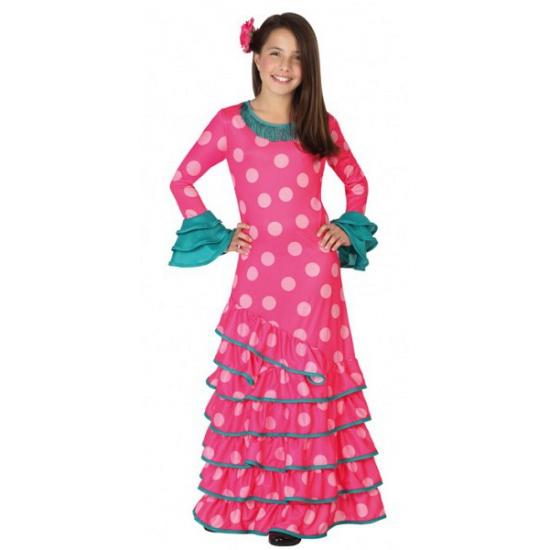 Roze Spaanse kinder verkleedjurk