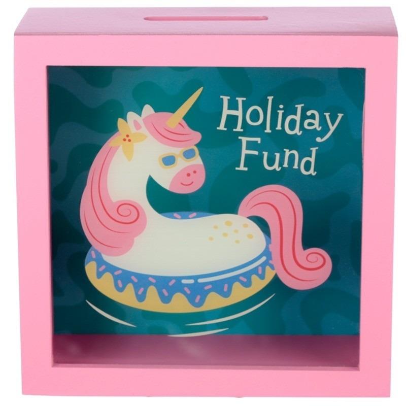 Roze vakantie fonds spaarpot met eenhoorn 18 cm