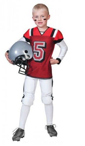 Rugby outfit rood met wit voor kids