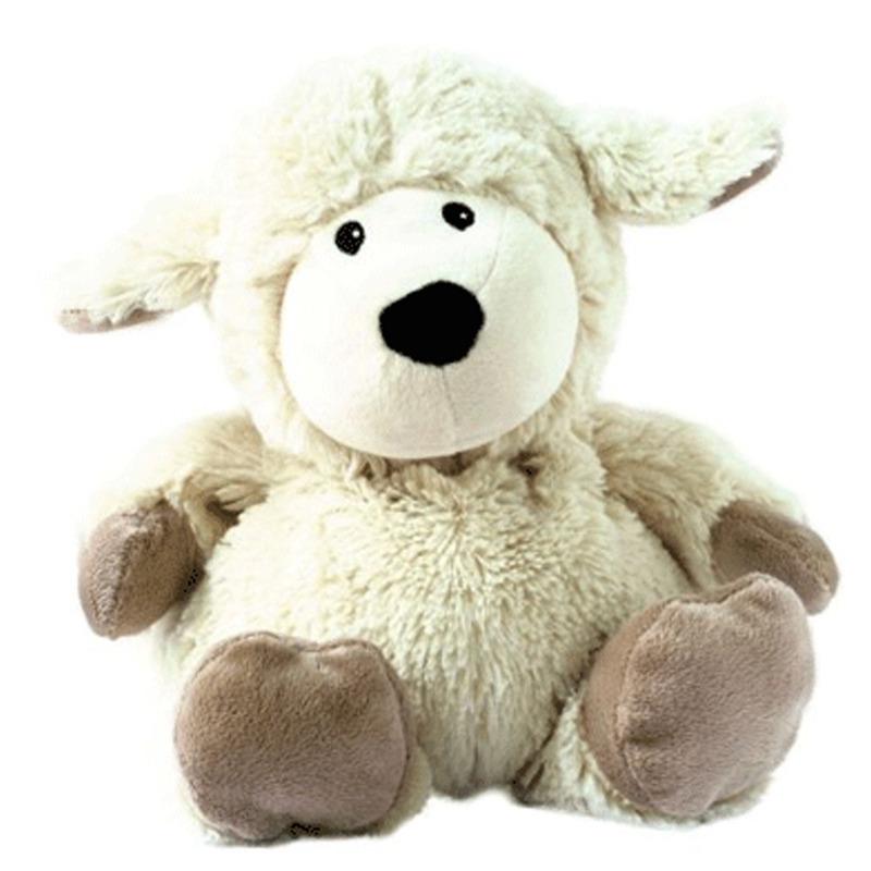 Schapen speelgoed artikelen opwarmbare schaap knuffelbeest wit 33 cm