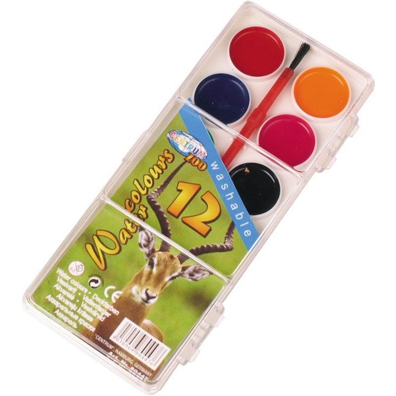 Schilderen waterverf set 12 kleuren met kwastje