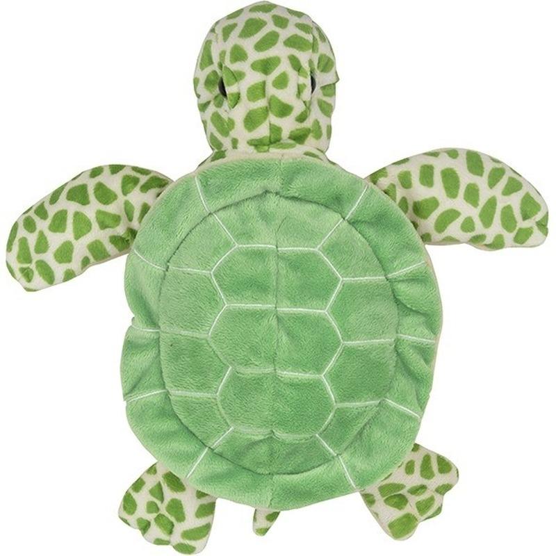 Schildpadden speelgoed artikelen schildpad handpop knuffelbeest groen 24 cm