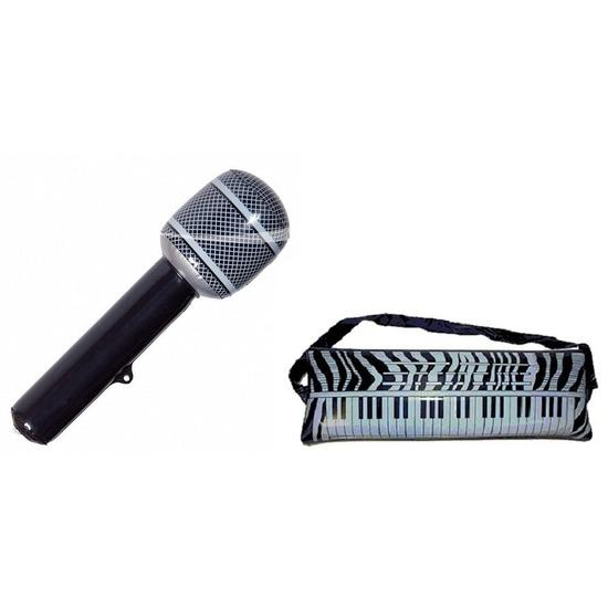 Set 2x opblaasbare muziek instrumenten keyboard en microfoon