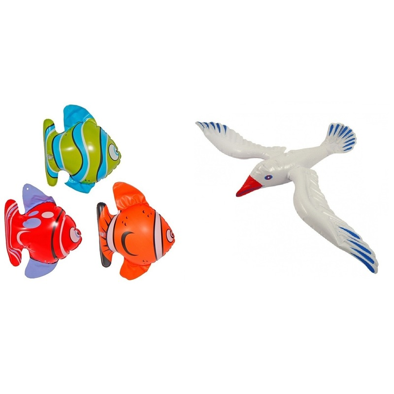 Set van 2 opblaasbare maritiem decoratie zeedieren type 1
