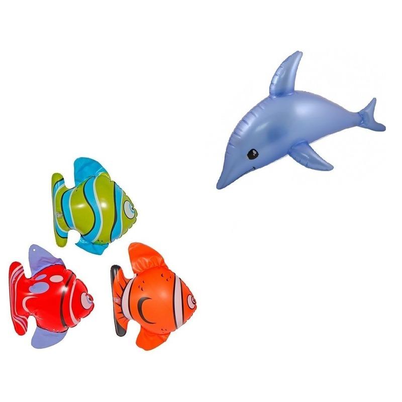 Set van 3x Opblaasbare vissen en 1 dolfijn