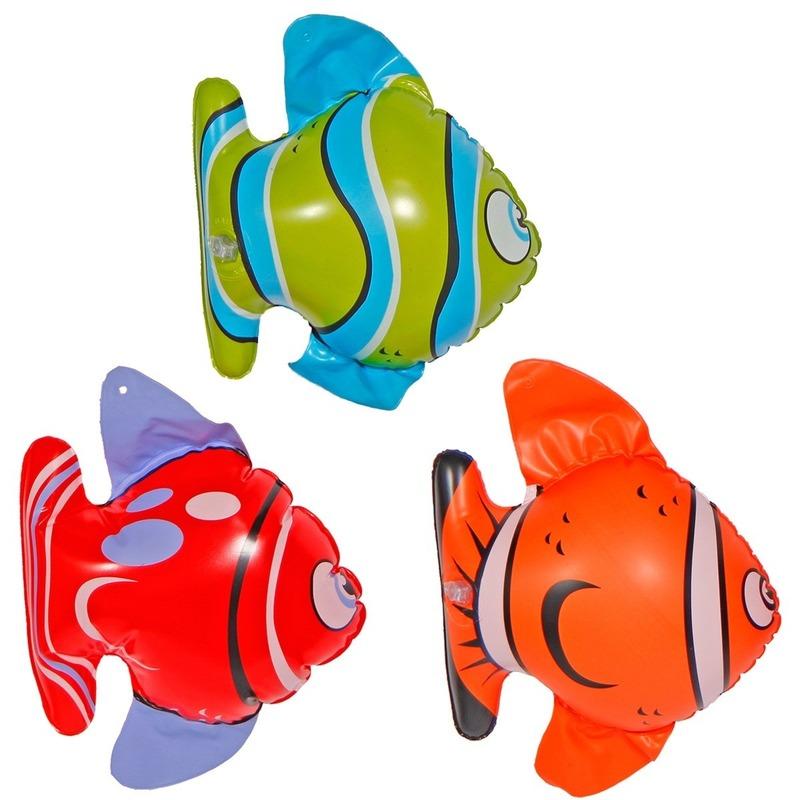Set van 3x stuks opblaasbare vissen van 22 cm