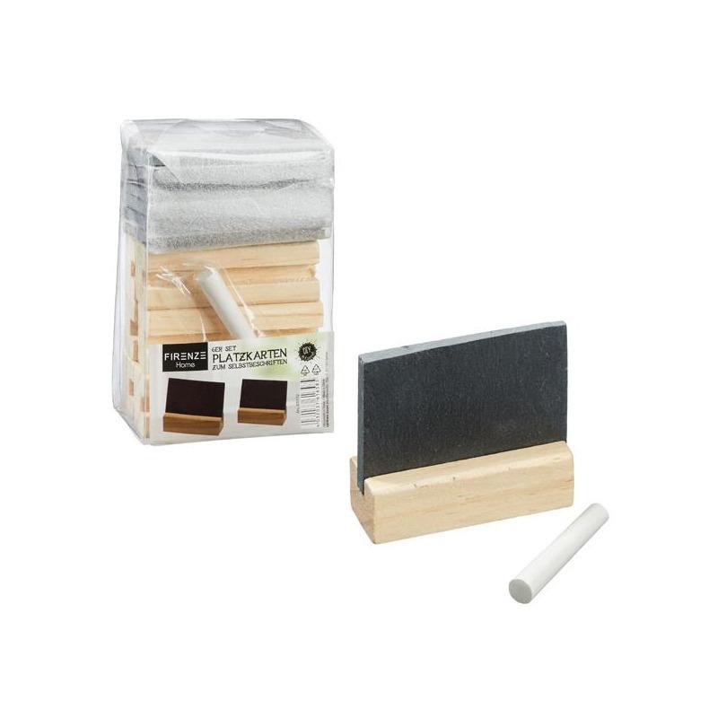 Set van 6x beschrijfbare naambordjes met houten houder en krijt
