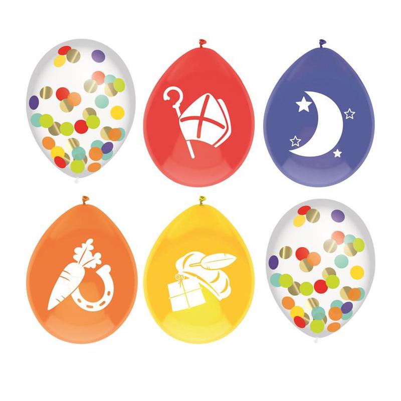 Set van 6x stuks gekleurde/confetti Sinterklaas ballonnen