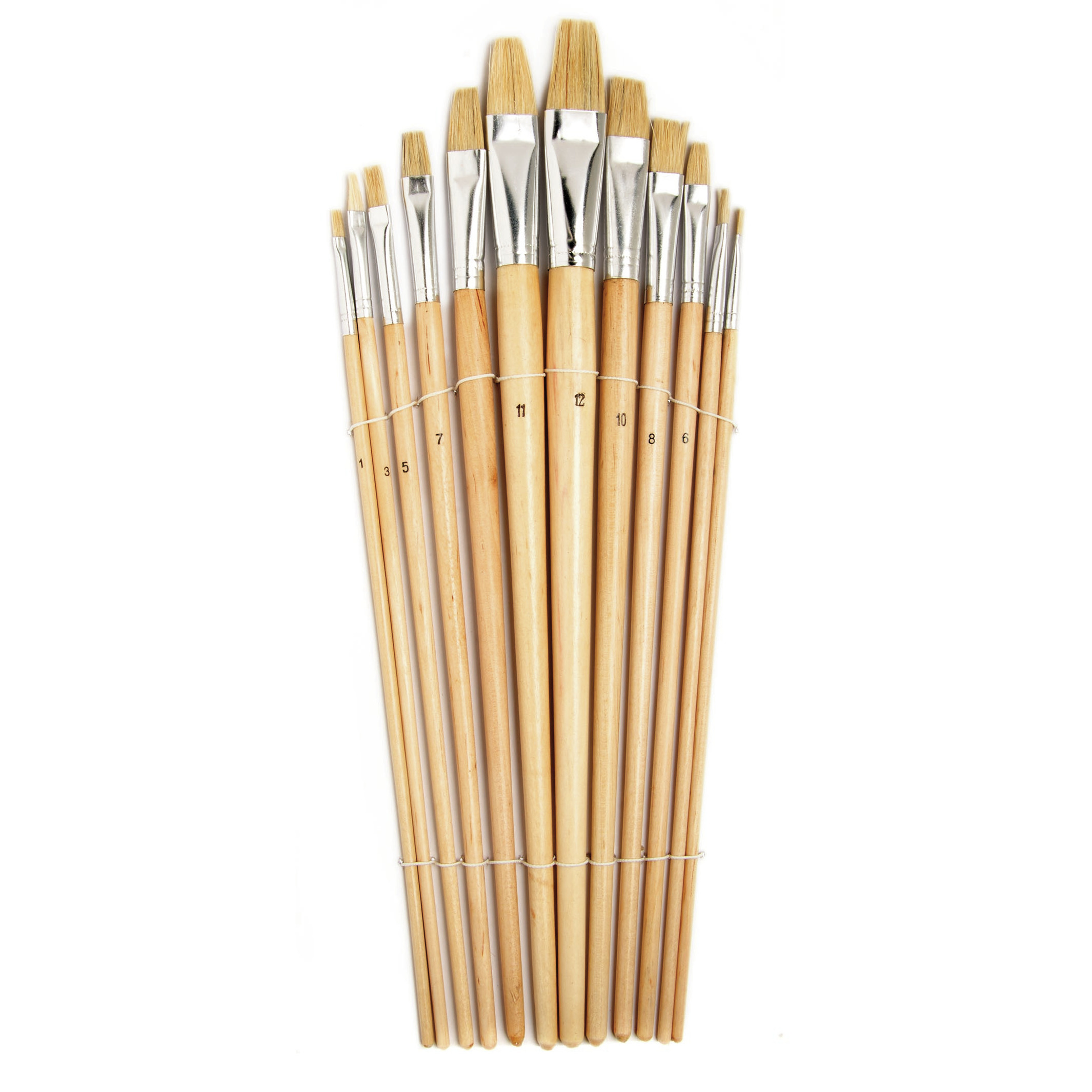 Setje van 12x stuks schilder penselen plat van hout met diverse formaten