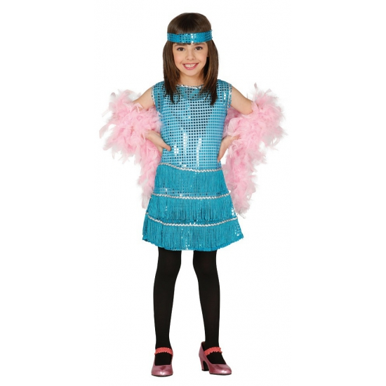 Showgirl jurk met blauwe pailletten