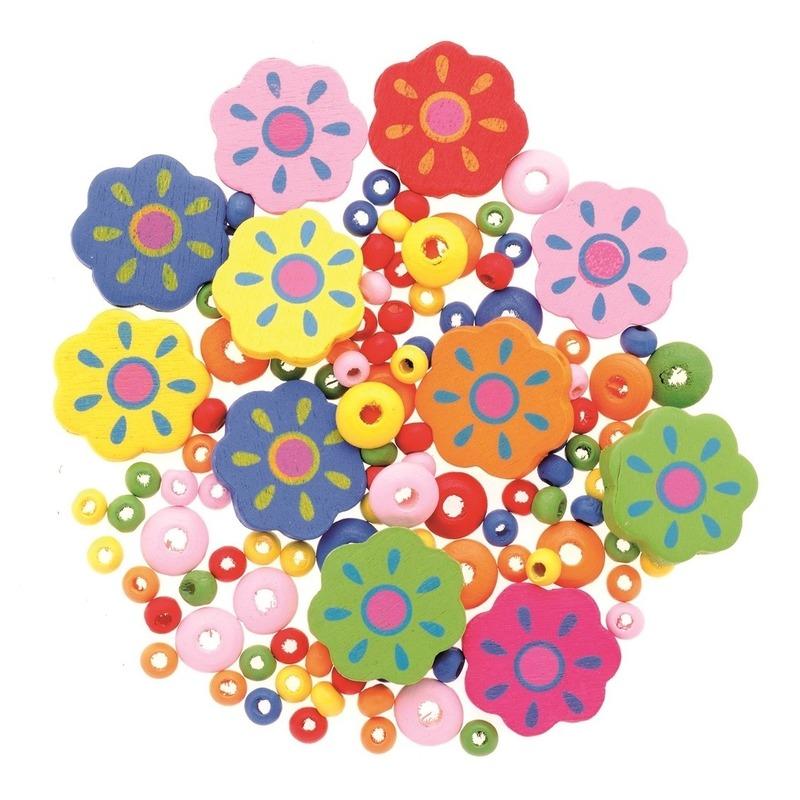 Sieraden maken kralenmix 75x stuks set bloemen/bloemetjes