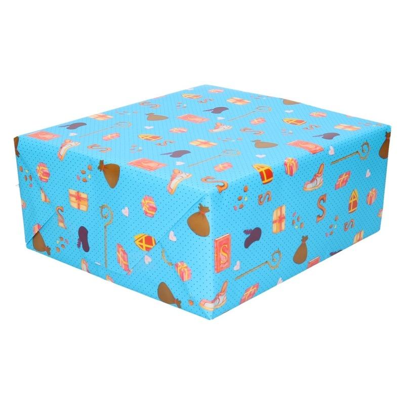 Sinterklaas inpakpapier/cadeaupapier print blauw 2,5 x 0,7 meter