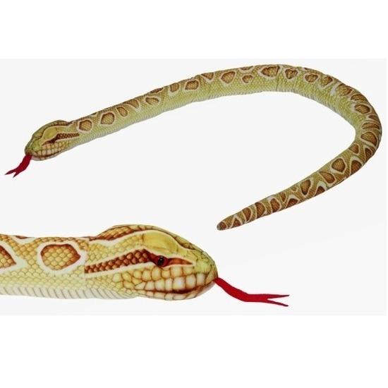 Slangen speelgoed artikelen gouden python knuffelbeest gevlekt 150 cm