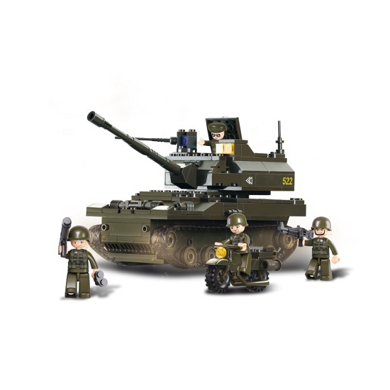 Sluban leger speelgoed tank 32 cm bouwsteentjes