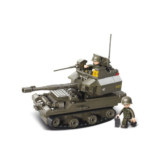 Sluban tank met kanon en geweer 28,5 x 23,7 cm