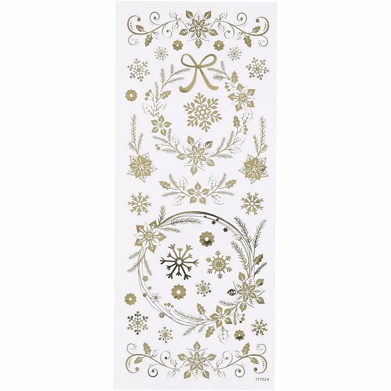 Sneeuwvlokken stickers goud 29x stuks
