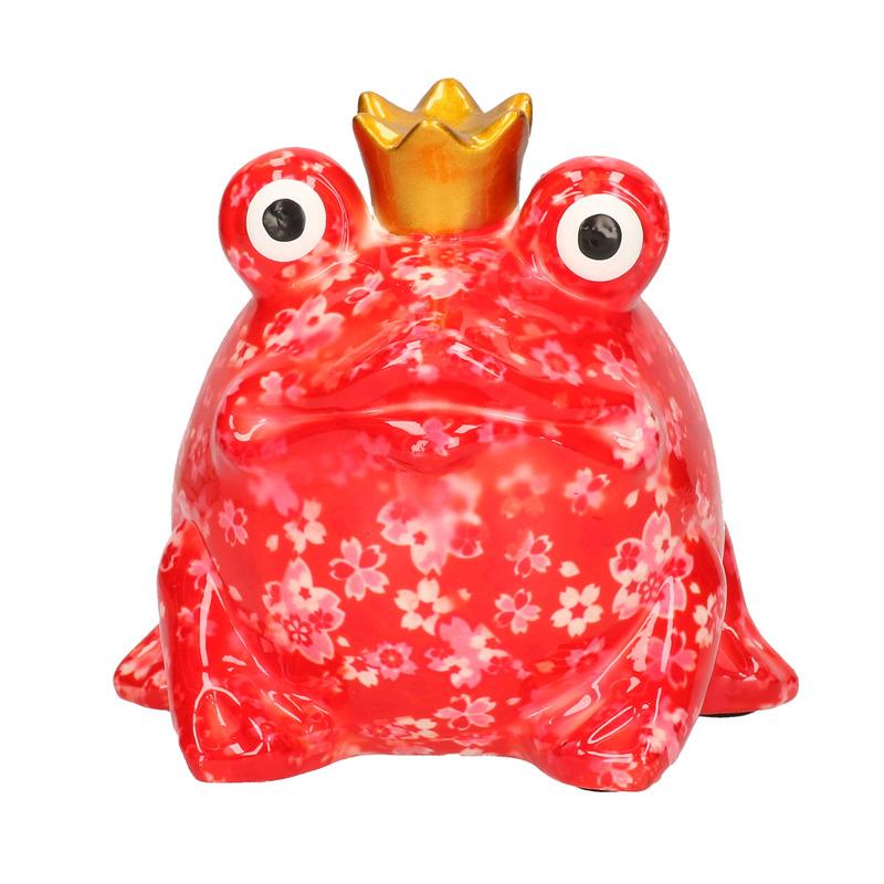 Spaarpot rode kikker met kroontje 14 cm