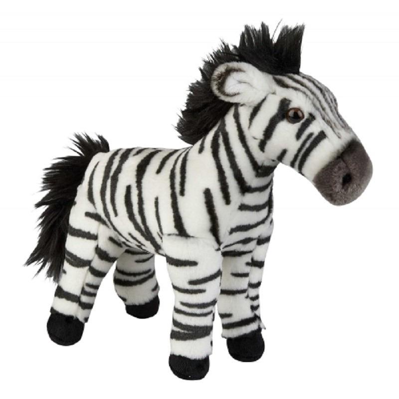 Speelgoed artikelen zebra knuffelbeest bruin 28 cm
