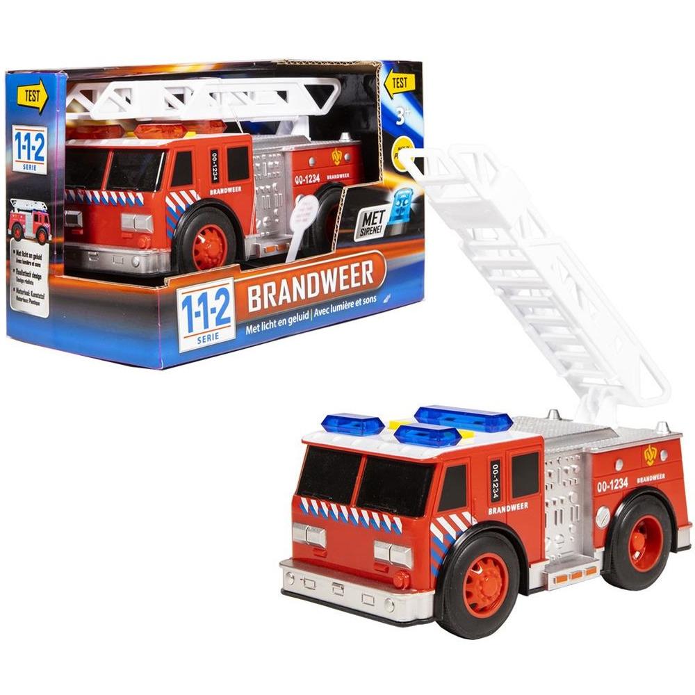 Speelgoed brandweerwagen met licht en geluid 18 x 8 x 10.5 cm