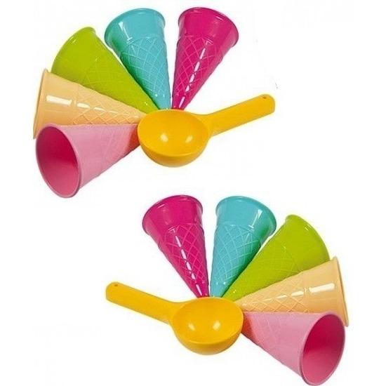 Speelgoed ijskraam ijsjes zandvormen 12 delig